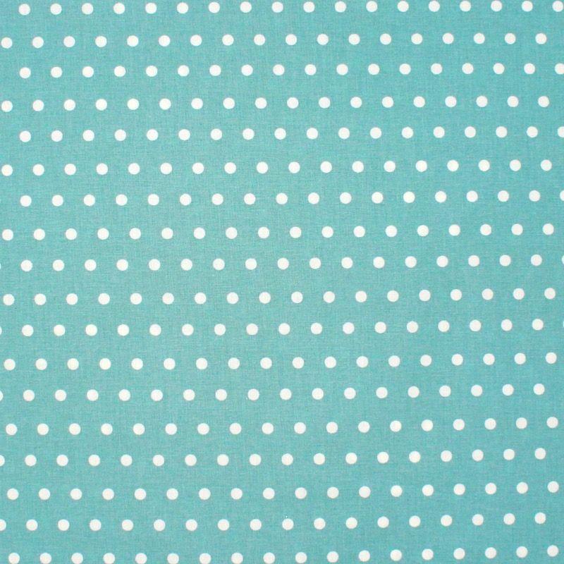Tissu en coton enduit à pois - Aqua