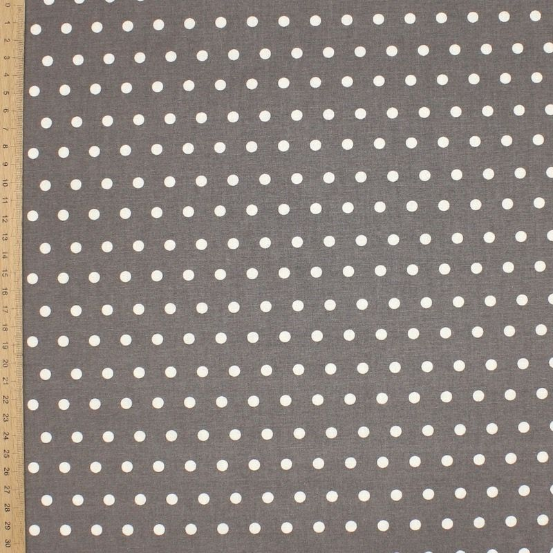 Tissu en coton enduit à pois - gris souris