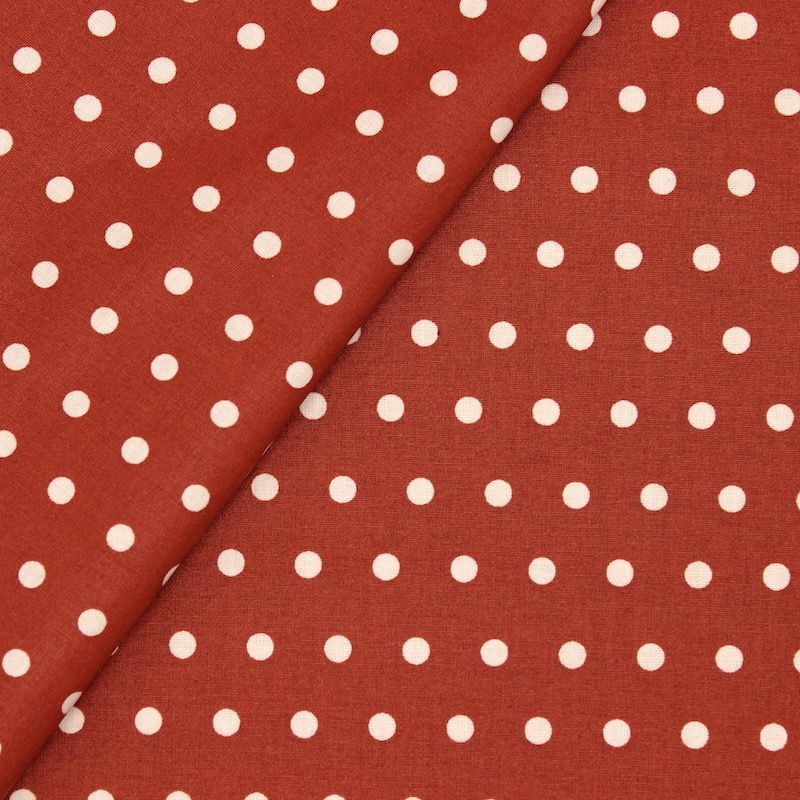 Coated cotton with dots - terracotta