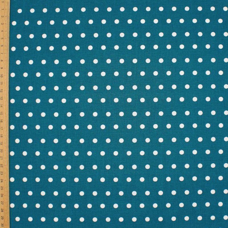 Tissu en coton enduit à pois - canard