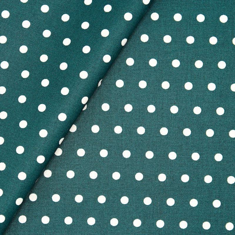 Tissu en coton enduit à pois - paon