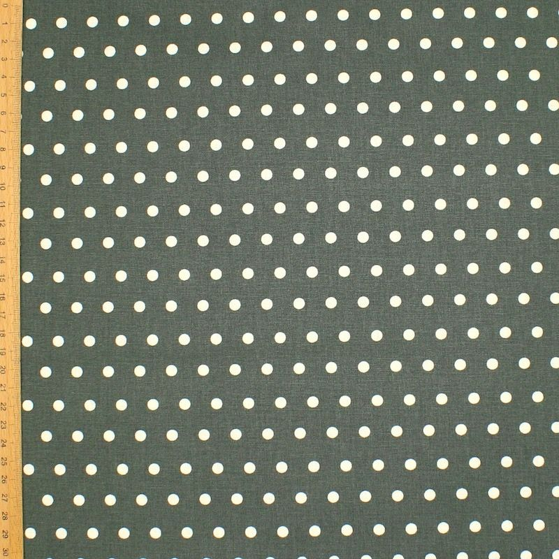 Tissu en coton enduit à pois - kaki