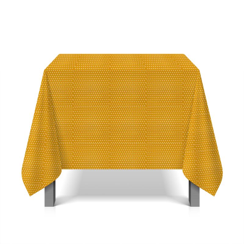 Tissu en coton enduit à pois - moutarde