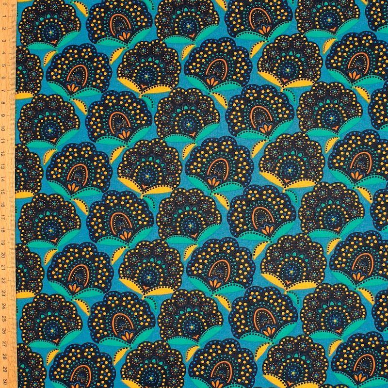 Coton enduit floral - bleu