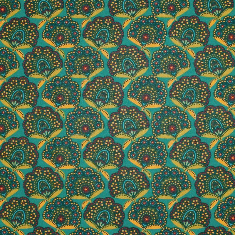 Coton enduit floral - vert émeraude