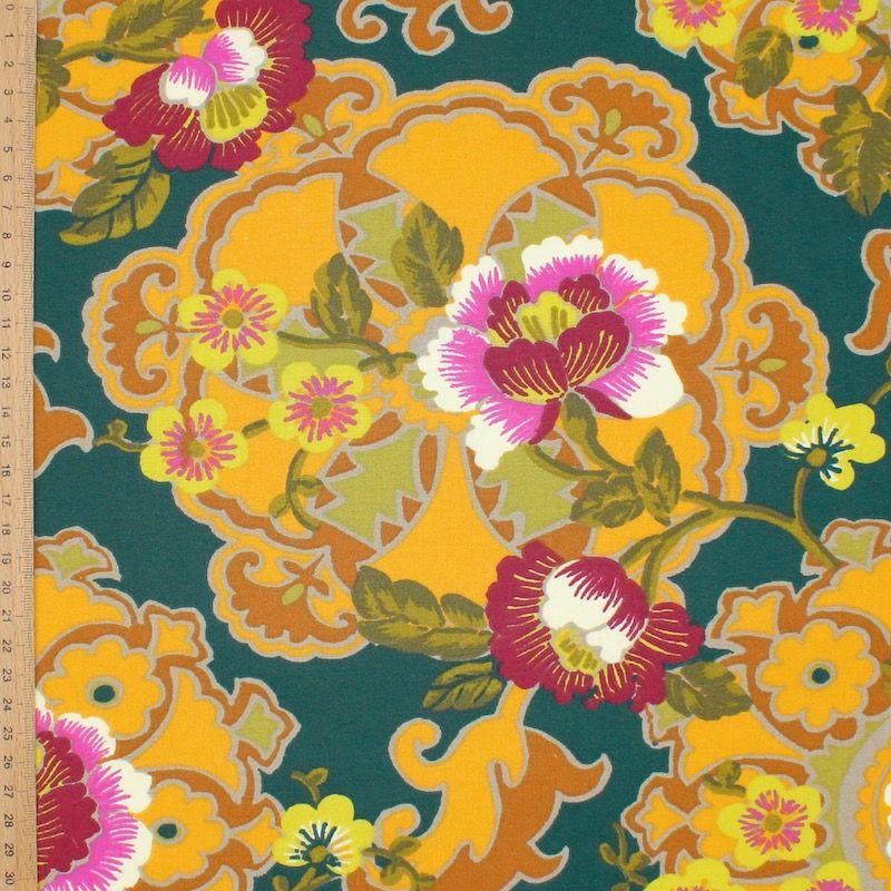 Coton enduit floral - canard