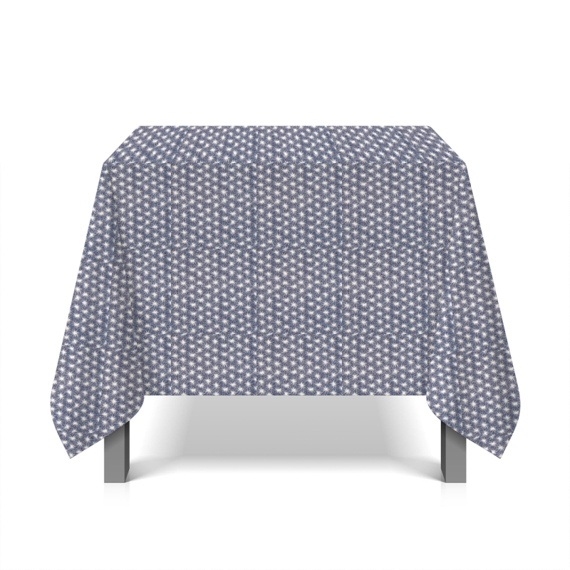 Tissu en coton enduit floral - bleu