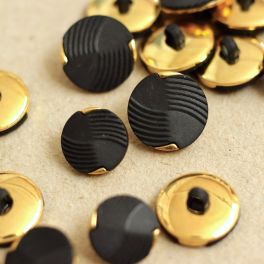 Vintage button - black and gold