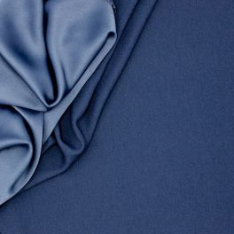 Crêpe fabric with satin backside - navy blue