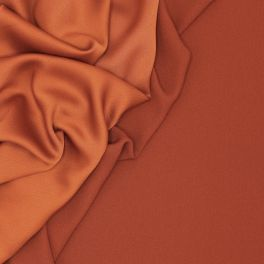 Crêpe fabric with satin backside - rust