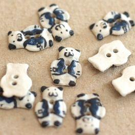 Ceramic little bear button