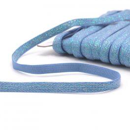 Lurex elastiek 10mm - lichtblauw