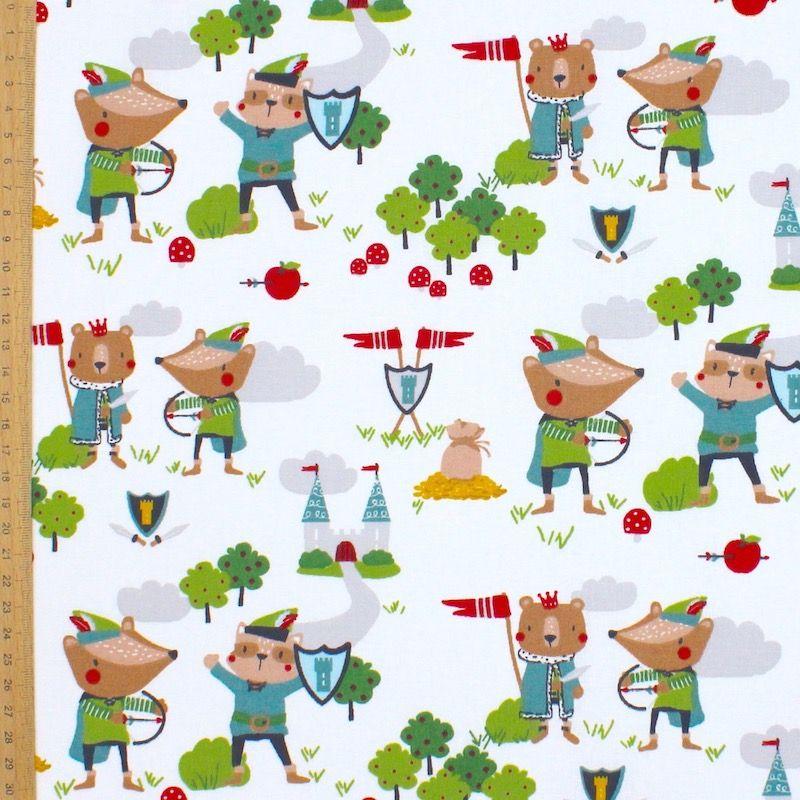 Tissu coton robin des bois