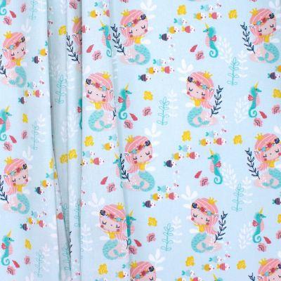 Tissu coton petite sirène -ciel