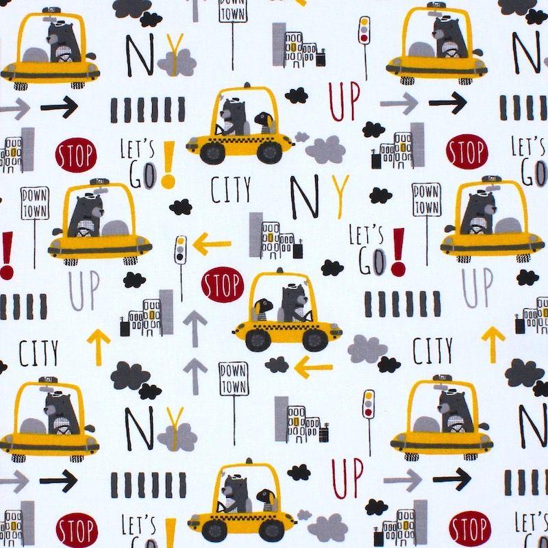 Tissu coton taxi et ours - jaune et gris