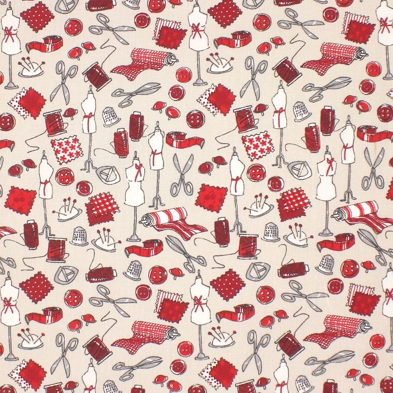 Tissu en coton mercerie - lin/rouge