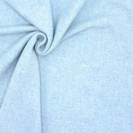 Tissu laine effet gros twill - ciel