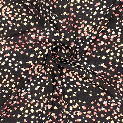 Tissu viscose étoiles et pois - noir