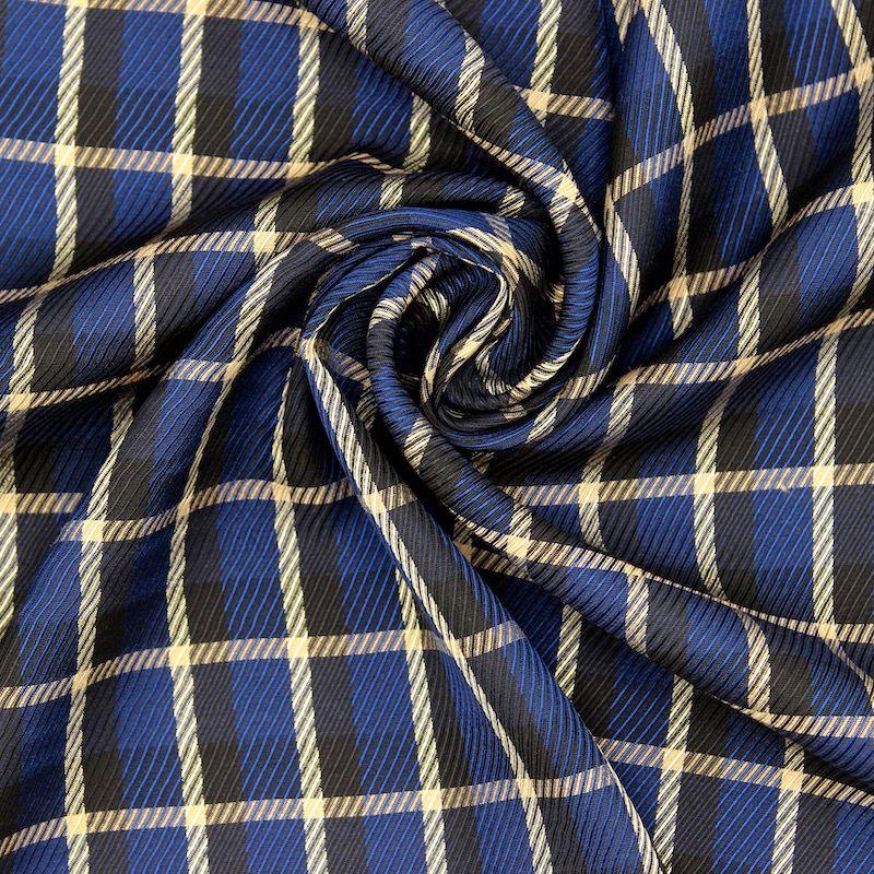 Twill satiné à carreaux - bleu/noir/beige
