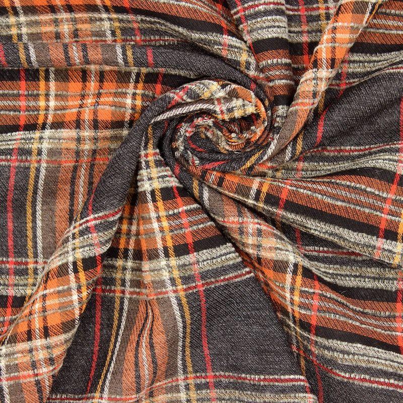 Tissu viscose à carreaux - gris/orange