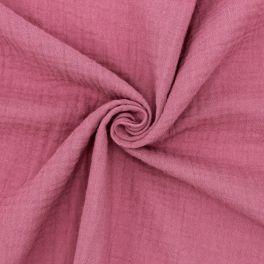 Tissu double gaze de coton framboise