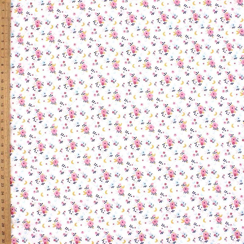 Tweezijdige gewatteerde stof konijn/bloem