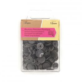 Box with 30 snap buttons - grey