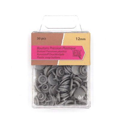 Boîte de 30 boutons pressions gris perle