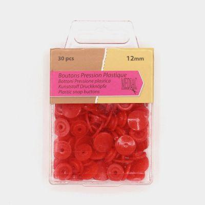 Boîte de 30 boutons pressions rouge