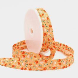 Biaisband met blaaderen - oranje