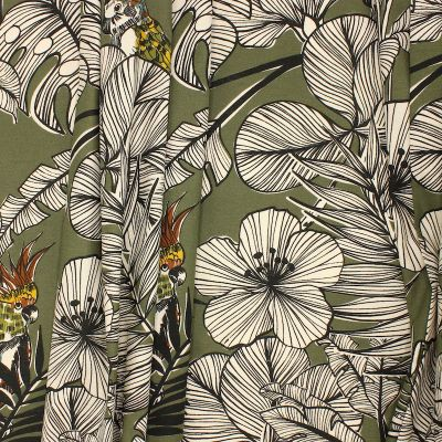 Cotton with parrots and foliage - khaki