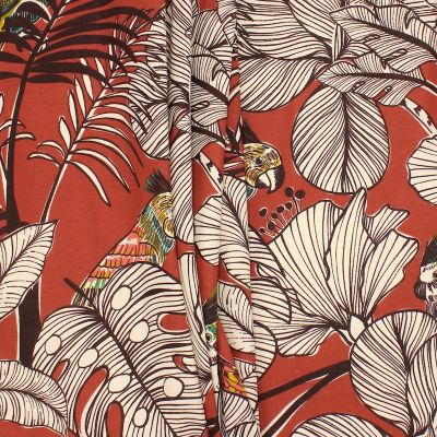 Cotton with parrots and foliage - terracotta