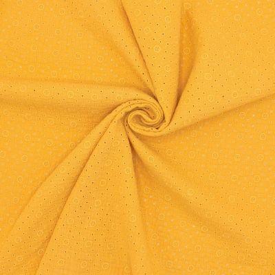 Tissu double gaze brodée - moutarde