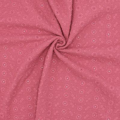 Tissu double gaze brodée - framboise
