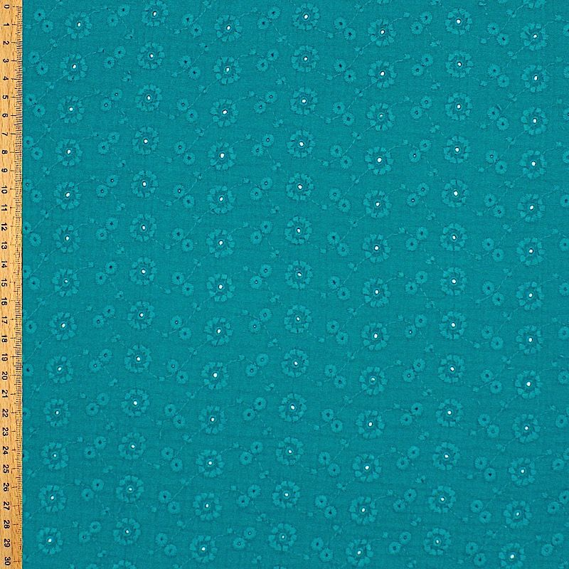 Tissu double gaze brodée - paon