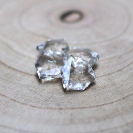 bouton vintage en hexagone transparent