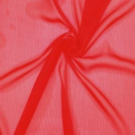Tissu voile froissé polyester - rouge