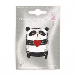 Iron-on patch panda with heart