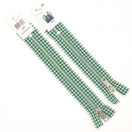 Non separating zipper -  vichy pattern - green
