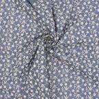 Tissu voile brodé fleurs - bleu jean