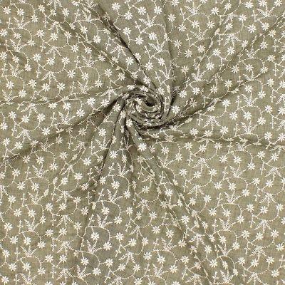 Tissu voile brodé fleurs - kaki