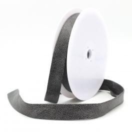Biaisband in kunstleer - grijs-zwart