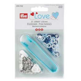Snap button jersey 8mm - blue and white