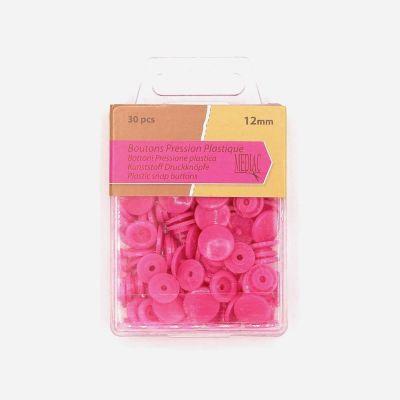 Boîte de 30 boutons pressions rose bonbon