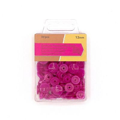 Box with 30 snap buttons - fuchsia