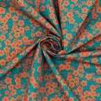 Popeline coton fleurs japonaises - canard/orange