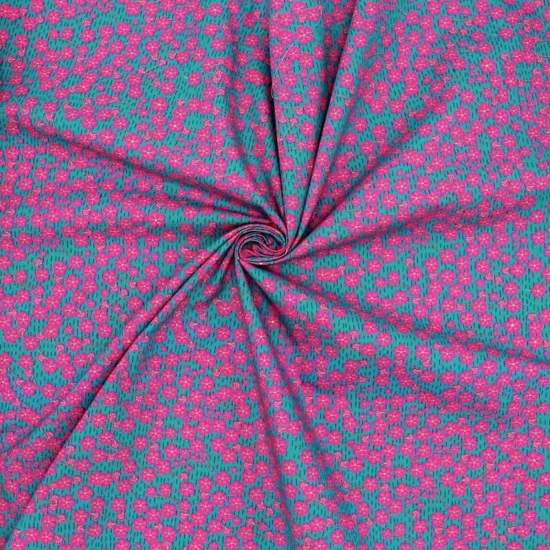 Popeline coton fleurs japonaises - canard/fuchsia