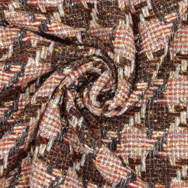 Tissu double face laine et coton - brique