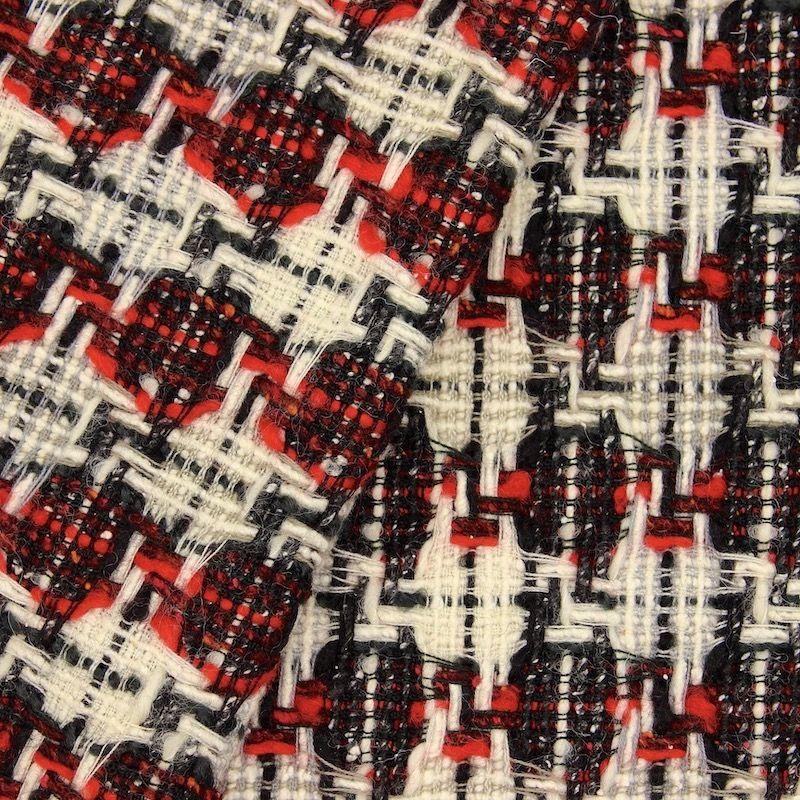 Tissu double face laine et coton - rouge et blanc