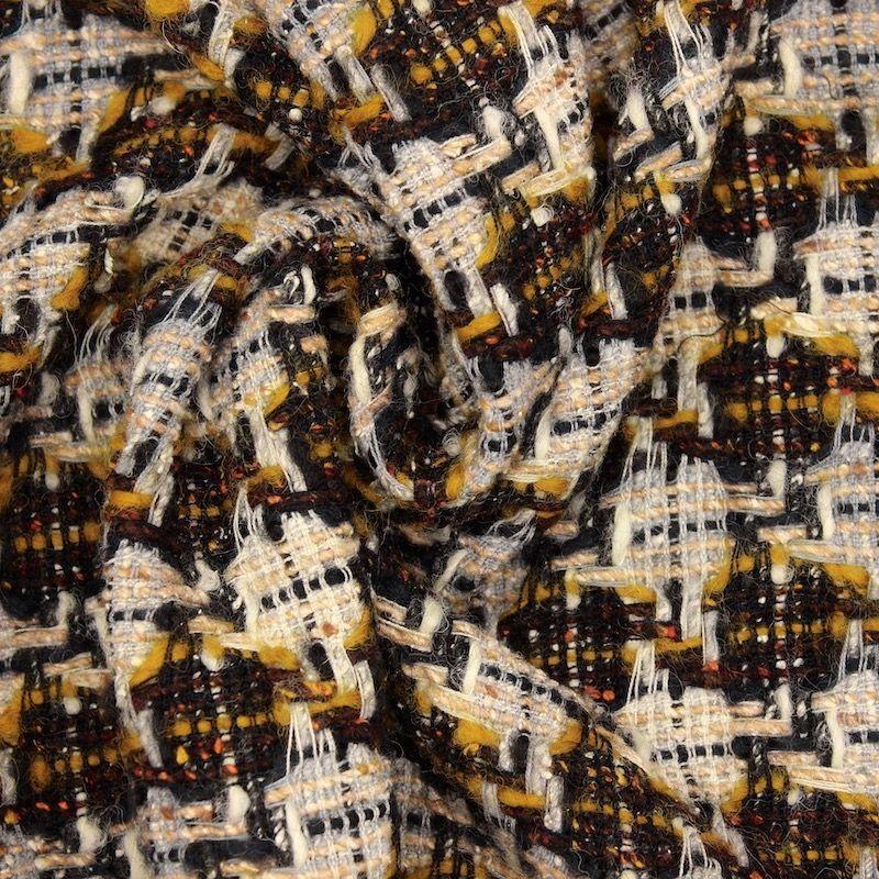 Tissu double face laine et coton - gris moutarde